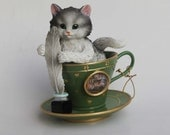 JURGEN SCHOLZ  Kitten in a tea cup Grey White Tuxedo Cat with Paw Prints Playing with a Feather