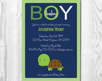printable turtle themed boy baby shower invitation