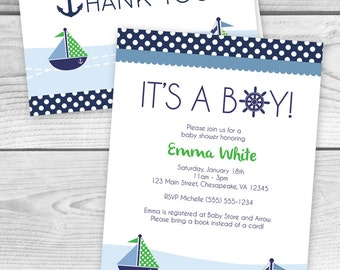 printable nautical themed boy baby shower invitation and thank you