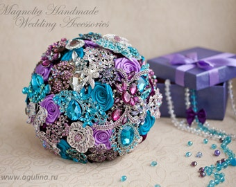 Brooch bouquet. Teal and Lilac wedding brooch bouquet, Jeweled Bouquet. Made upon request