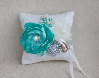 Mint Ring Bearer Pillow Bridal Pillow.