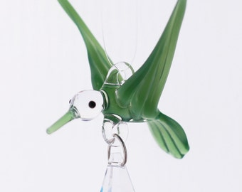 Small Hand Blown Glass Hummingbird Ornament with Crystal Prism