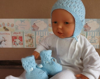 Knitted Baby Booties / Bonnet  Newborn Baby Set, Baby Photo Props, Baby Shower Gift, Handmade, Australia Nchanted Gifts
