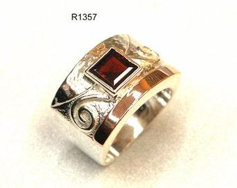 Red Garnet Massive Ring 9k Rose Gold 925 Sterling Silver Stone Jewelry Wedding New, garnet stone ring, garnet silver ring, silver gold ring