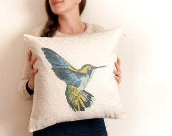 HUMMINGBIRD throw pillow/ large cushion cover/ square pillow
