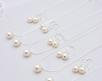 Set of 8 Bridesmaid Ivory Pearl Sets, 8 Ivory Pearl Necklaces and Earrings, Sterling Silver Bridesmaid Jewelry Set 0158