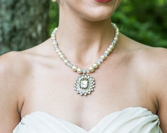 Pearl Necklace-Vintage Necklace-Wedding Jewelry-Bridal Necklace-Champagne-Beige-Pearl Backdrop Necklace-Brooch