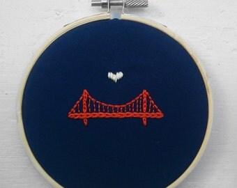 "4"" Embroidery Hoop Art - Golden Gate Bridge - SF - Home Decor - Wall Art -  Housewarming Gift - *FREE Shipping!"