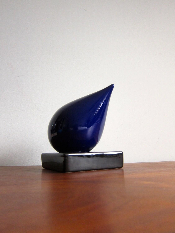 Dropsnatch Blue Black Marble: Ceramic Sculpture Blue And Black Water Drop