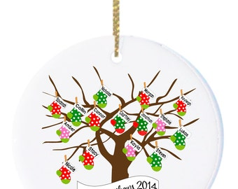 Personalized Christmas Ornament, Family Ornament , Grandparent Ornament, family of  15, 16, 17