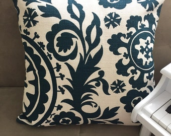 Teal White Pillow Cover with Floral Design 18'' x 18''
