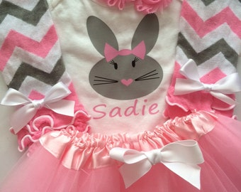 TODDLER Girl  Easter Outfit - personalized toddler girl outfit - spring baby outfit - pink legwarmers - easter bunny bodysuit