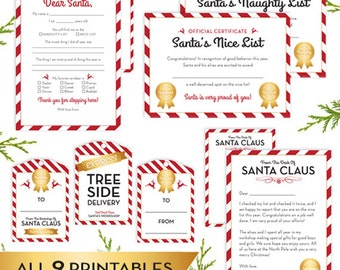 SANTA Printables - Set of 9 INSTANt DOWNLOAD Letter To Santa, From Santa, From Santa Tags, Express Tree Side Delivery Tag, To/From Gift Tags