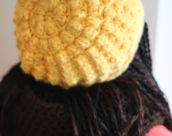 Satin Lined Bobble Slouchy Beanie for Natural curly or relaxed Hair