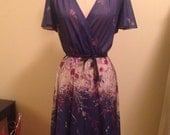 Vintage 1970s Sheer Periwinkle Dress
