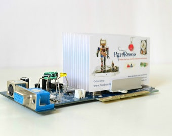 business card holder geek decor office desk accessories. Black Bedroom Furniture Sets. Home Design Ideas
