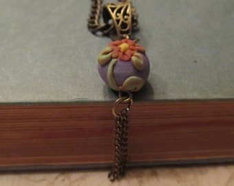 Flower Polymer Clay Pendant Blue and Green on Bronze Chain