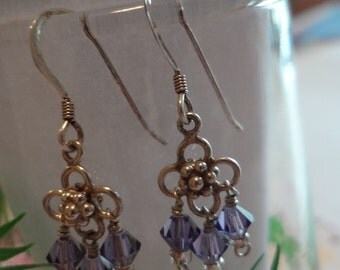 Silver Earrings 925 Sterling Silver Flower Dangling Purple Beads Earrings Lilac Pierced Birthday Gift Anniversary Hoops Post Floral