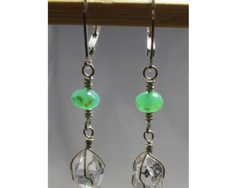 CHRYSOPRASE & HERKIMER DIAMOND Wirewrap Earrings - Argentium Sterling Silver ww309