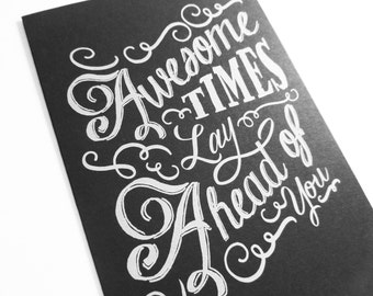 Awesome Times Chalkboard Greeting Card Good Luck New Job