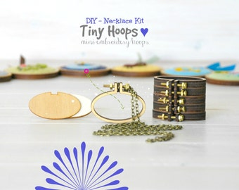 DIY Necklace Kit - Mini Embroidery Oval Hoop Frame with Necklace -  45mm x 27mm Oval Hoop - Miniature Embroidery Hoops - DIY Mini Hoop Frame