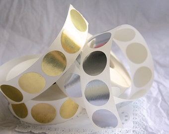 """1"""" Circle Sticker Seals, GOLD or SILVER"""