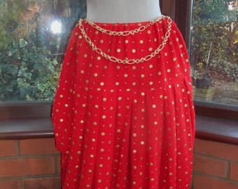 Belly dance stage party lovely large red gold spotted boho chiffon silk very full pleated Harem pants with all sequined beaded bra top
