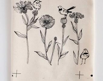 Embroidery Pattern - screen print on cotton - original illustration