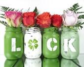 St Patricks Day Party Decoration, Green Mason Jars, Spring Decor, Distressed Home Decor, Painted Mason Jars, Rustic Centerpiece