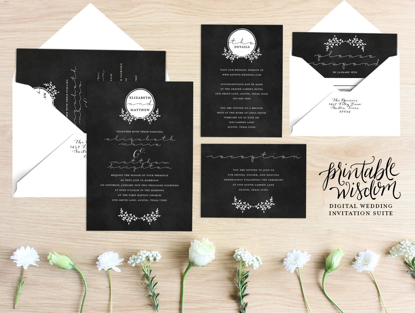Chalkboard Wedding Invitations: Printable Wedding Invitation Suite Chalkboard Wedding Invite