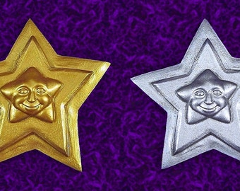 Gold or Silver Star Face Celestial Wall Plaque Christmas Ornament Handmade