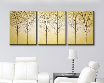 "SALE Wall Art Yellow Canvas Art Tree Painting Wall Decor Large Wall Hanging Modern Art Mustard Yellow Paintings Home Decor 48""x20"""