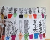 Pillow cover for throw pillows white bright plants pots Botanical Scandinavian Design Floor Cushions Accent Pillows