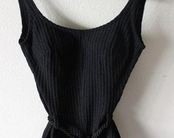 Vintage Gottex 1960s Black One Piece Swimsuit