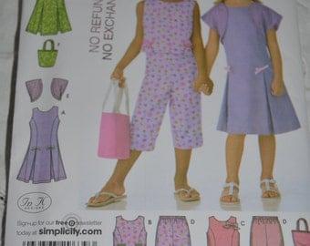 SImplicity 4251 Cilds Capris Pants Dress or Top Bolero and Bag Sewing Pattern - UNCUT - Size 3 4 5 6 7 8