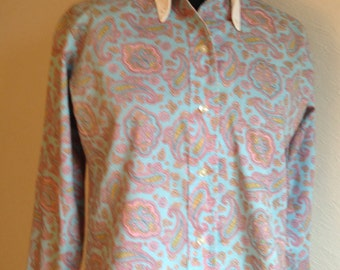 "Paisley Tailored Shirt by Fritzi of California, Paisley on Blue with White Collar and Cuffs, 32"" Bust"
