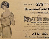 Early 1900's Titanic Era Three Piece Corset Cover Sewing Pattern Royal Society Embroidery Kit 278 No Instructions Bust 37 - 40