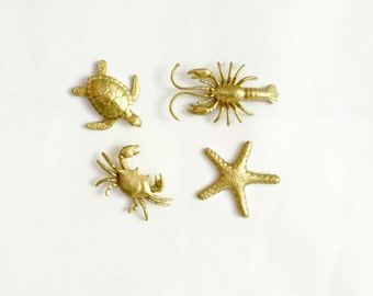 4 gold under the sea magnets beach chic decor accessories.