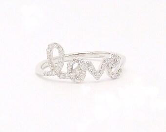 "14k Gold Diamond ""Love"" Ring (yellow, white, or rose gold)"