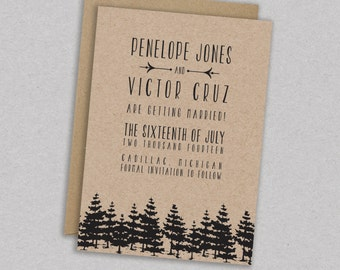 DIY Printable Wedding Save the Date: Forest - Trees - Woodland - Barnwood - Rustic - The Penelope
