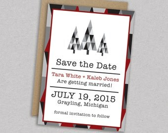 SAVE 20% // DIY Printable Wedding Save the Date: Geometric - Rustic - Woodland - Woodsy - Holiday - Modern Rustic - The Tara