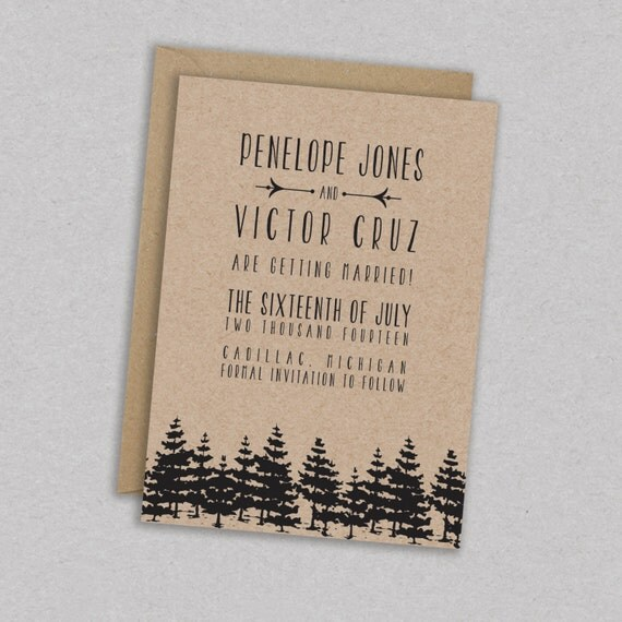 SAVE 25% // DIY Printable Wedding Save the Date: Forest - Trees - Woodland - Barnwood - Rustic - The Penelope