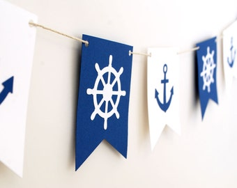 Nautical theme Garland- Navy and White 5ft