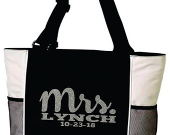 MRS Tote Bag. With Last Name and Wedding Date. Wedding Tote. Wedding Bag. Bridal Shower Gift. Bridal Tote. Anniversary Tote. Free Shipping