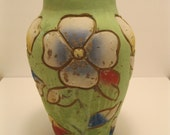 Large Vintage Mexican Folk Art Terra Cotta Vase Eleven Inches Tall