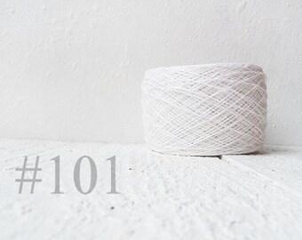 Snow  white Laceweight Linen yarn - white linen thread # 101