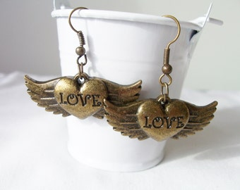 Heart wings metal charm earrings - heart jewelry - metal steampunk earrings - heart earrings - wing charms - heart charms - brass earrings