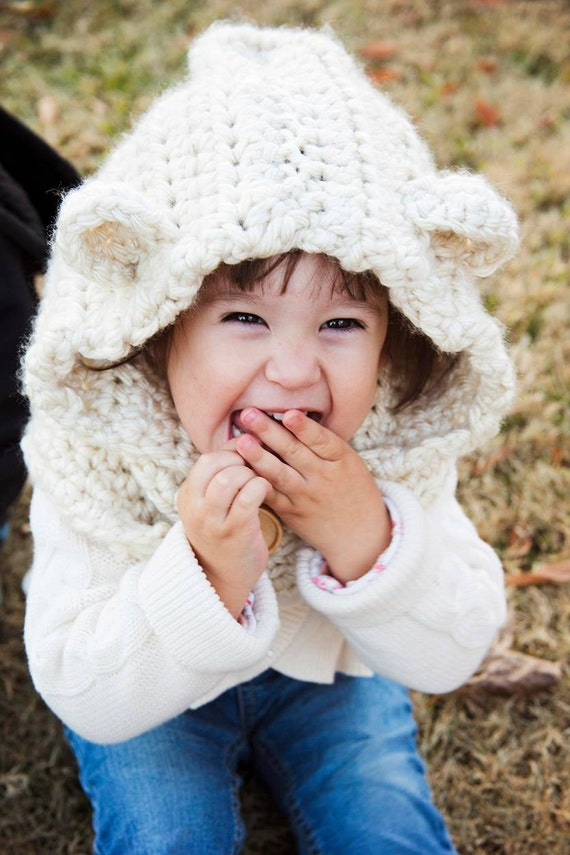 Crochet Baby Bear Cowl Pattern : Items similar to Crochet Bear Hood (not pattern) Baylie ...