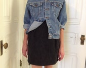 High Waist Black Denim Skirt