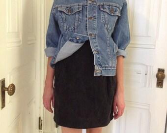 High Waist Black Denim Skirt